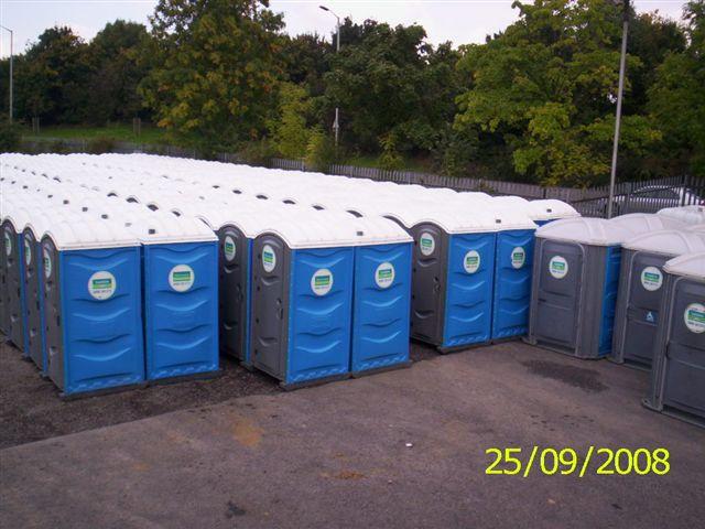 Portable toilets in Elliott Loohire depot