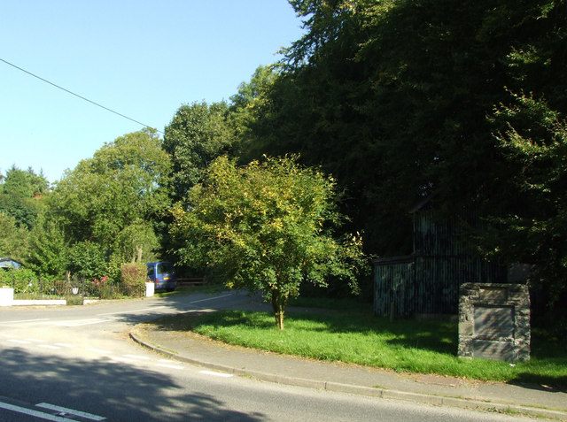 Road junction at  Llanbadarn Fynydd