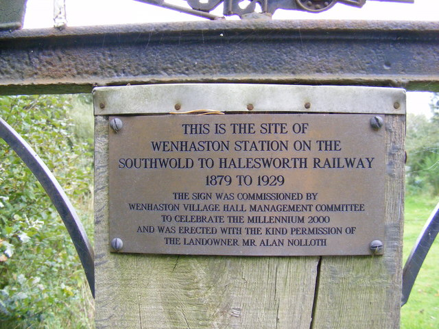 Plaque at the Site of the Wenhaston Railway