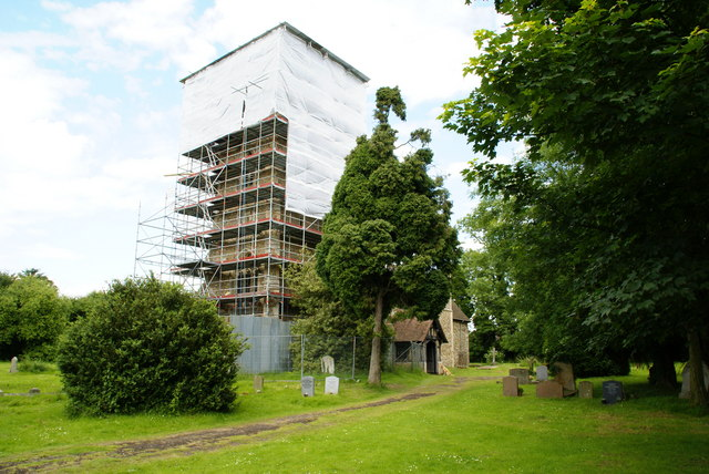 Great Wymondley church tower under repair