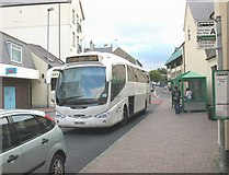 SH4862 : The 545 National Express service from Pwllheli for London Victoria departing Caernarfon Bus Station by Eric Jones