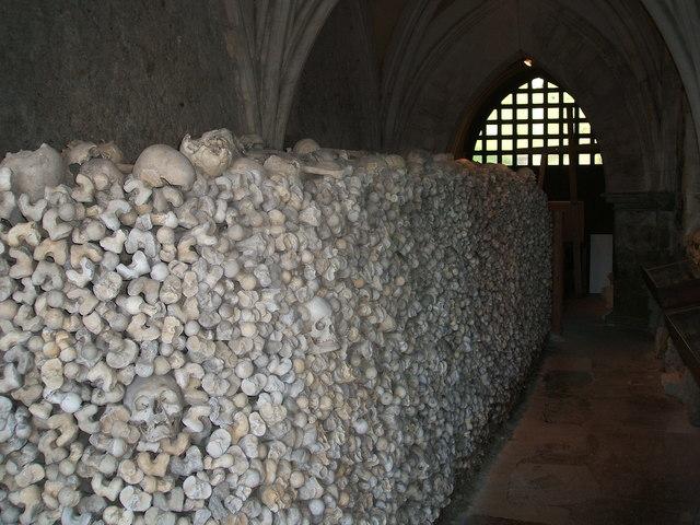 Ossuary in the crypt of St Leonard's Church