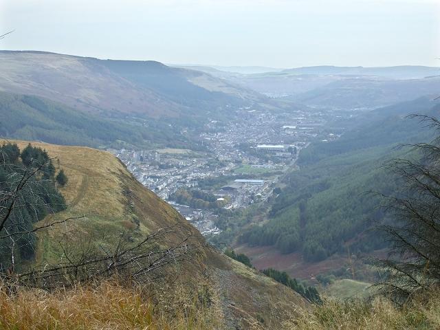 View of Tynewydd and Treherbert over Penpych Woodland