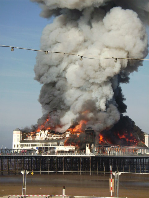 The Grand Pier in flames