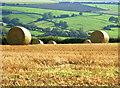 ST6963 : 2008 : Stubble and bales near Park Farm by Maurice Pullin