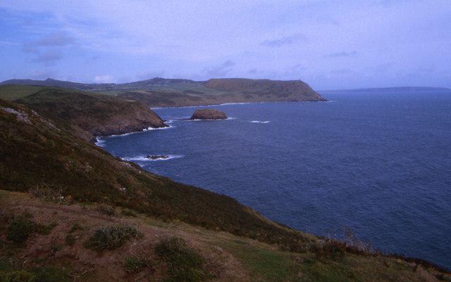 Rugged coastline east of Aberdaron Bay