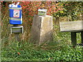 TM3470 : Trig Point & donation box at Hornes Wood by Adrian Cable