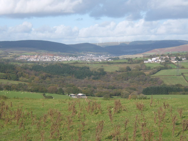 Upland grazing with valley views towards Maesteg