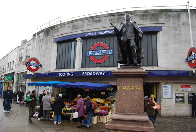 Statue of Edward VII outside Tooting Broadway Underground Station