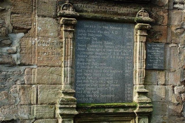 A restored memorial in the Auld Kirkyard