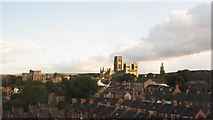 NZ2742 : Durham Cathedral and Castle above the rooftops by Mike Quinn