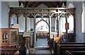 TM2290 : St Margaret's Church, Hardwick, Norfolk - Screen by John Salmon