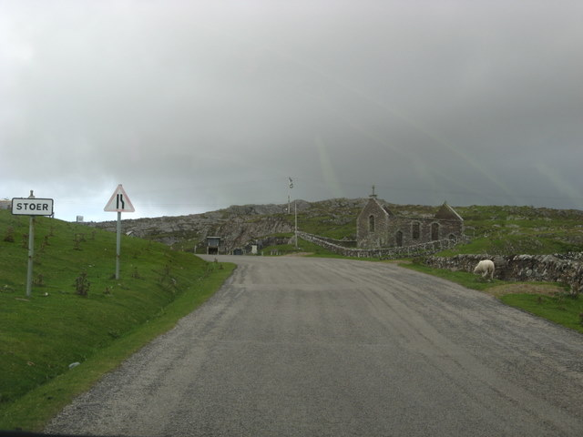 The main road through Stoer with its derelict church