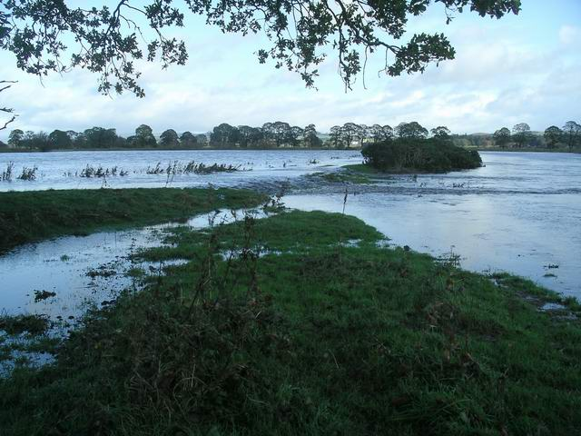River Annan in flood, Halleaths