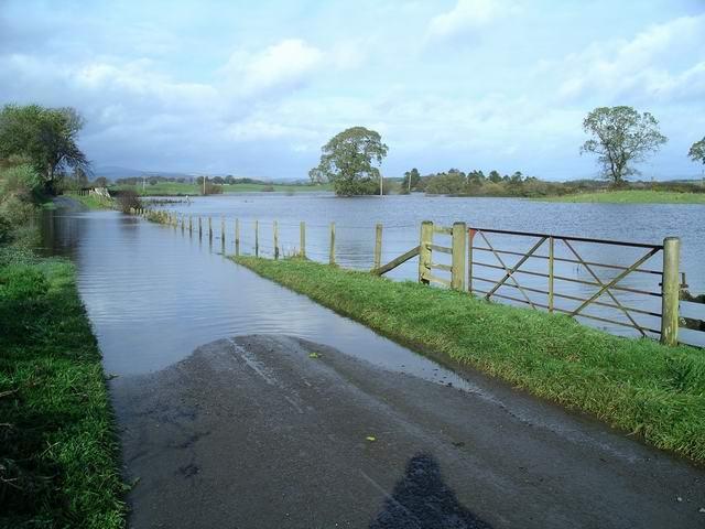 Flooded road near Halleaths