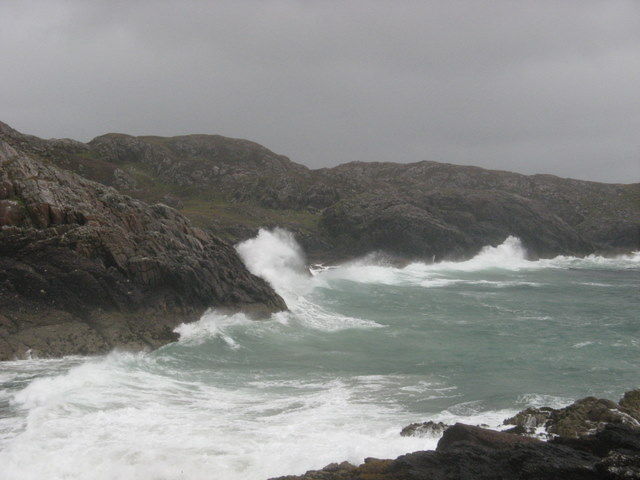 Bay next to Split Rock at Clachtoll on a stormy day