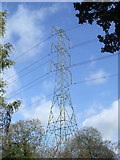 SO8687 : Pylon, powerlines, clouds and blue sky, Staffordshire by Roger  Kidd