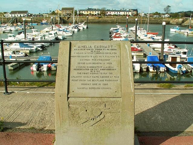 Amelia Earhart memorial, Burry Port harbour