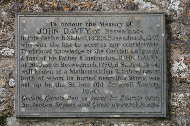 Plaque to John Davey, on the wall of Zennor church