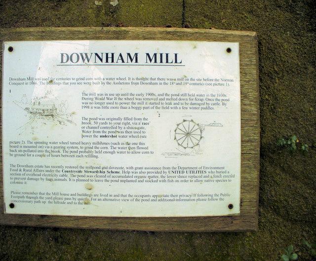Notice about Downham Mill
