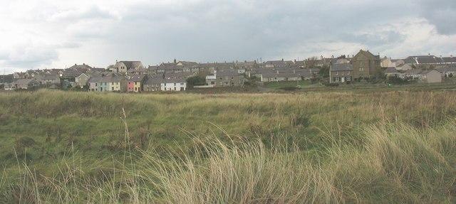 The village of 'Berffro from the sand dunes of Tywyn 'Berffro