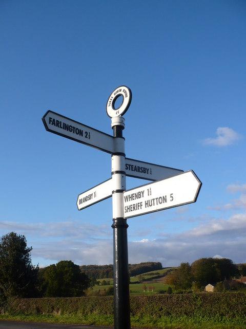 Fine restored North Riding road sign