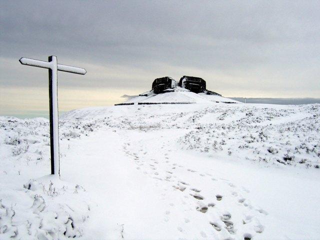 The Jubilee Tower on Moel Famau in the snow