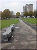 TQ3283 : Footpath and bench, Shoreditch Park by Oxyman
