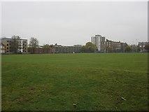 TQ3283 : Rugby Pitch, Shoreditch Park by Oxyman