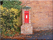 TM3569 : Four Cross Roads Victorian Postbox by Adrian Cable