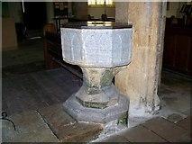 SY7699 : Font, St Martin's Church by Maigheach-gheal