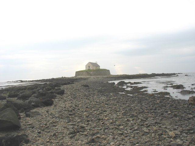 The causeway to St Cwyfan's island