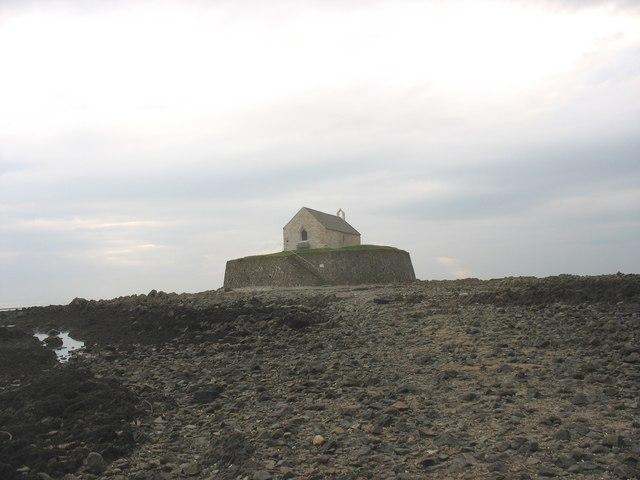 Approaching St Cwyfan's island across the causeway