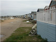 SZ1891 : Beach huts, Mudeford Spit by Mike Faherty