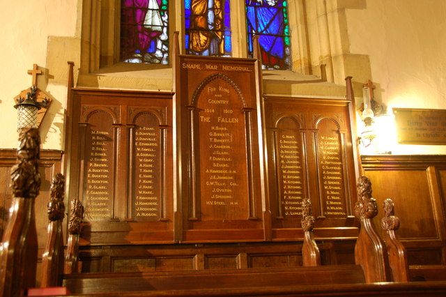 Snape War Memorial - inside the Chapel of St Mary's