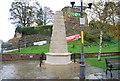 TQ5946 : War memorial, footpath signs & castle walls, Tonbridge. by N Chadwick
