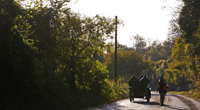 Veteran car going down Clayton Hill, West Sussex
