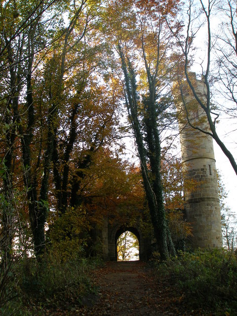 Through the woods to the castle folly