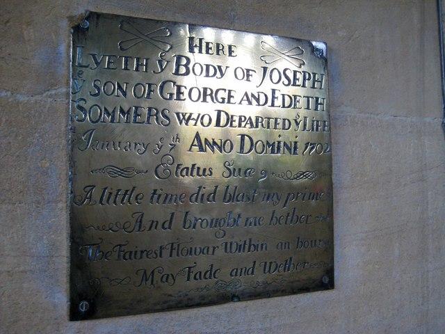 Memorial inscription - St Mary's Church
