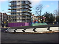 TQ3383 : Roundabout with Public art in its centre by Oxyman