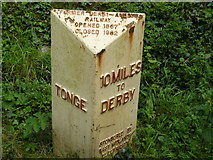 SK4122 : Old style sign at Tonge Derbys by Andy Jamieson
