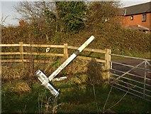 ST0107 : Upended signpost, Little Toms by Derek Harper