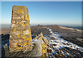 SO3698 : The trig point on Manstone Rock by Dave Croker