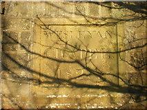 SE0328 : Stone set in rear wall of Throstle Bower Graveyard by Alexander P Kapp