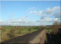 SJ8925 : Railway bridge and farmland by Simon Huguet