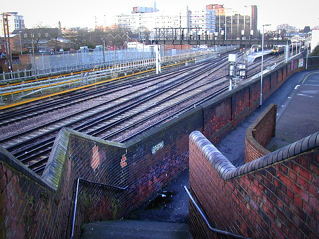 Portsmouth and Southsea Station from footbridge Railway View