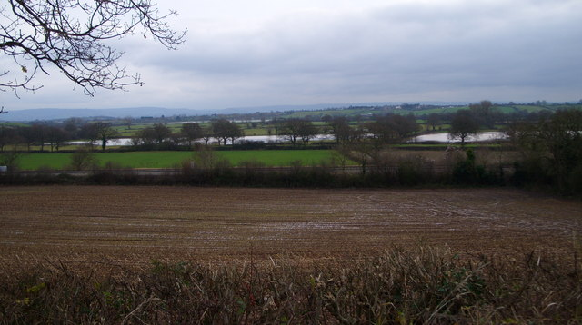 Railway line and flooded fields