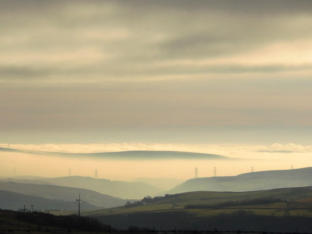 Foggy conditions in the Calder Valley near Todmorden