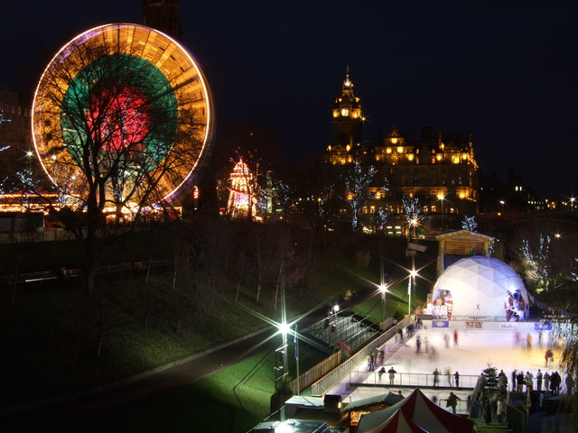 Edinburgh's Festive Winter Wonderland taken from The Mound
