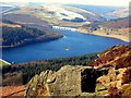 SK2085 : Ladybower Reservoir from Bamford Edge by John Darch